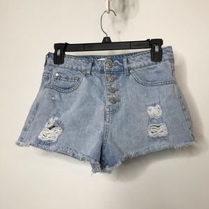 Forever 21 Denim Booty Shorts Button Fly Cut Off